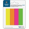 "Business Source Page Marker Pad - 40 x Bright Yellow, 40 x Bright Green, 40 x Bright Pink, 40 x Bright Purple - 0.75"" x 2"" - Rectangle - Assorted - Removable, Repositionable, Self-adhesive - 4 / Pack"
