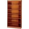 "Square-Edge Bookcase - 36"" x 12"" x 72"" - 6 x Shelf(ves) - 600 lb Load Capacity - Square Edge, Sturdy, Reinforced, Adjustable Shelf - Cherry - Veneer - Particleboard, Wood, Steel, Wood Veneer - R"