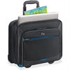 "Solo Tech Carrying Case (Roller) for 16"" Notebook, iPad, Tablet PC, Digital Text Reader - Black, Blue - Polyester - Handle - 15"" Height x 16"" Width x 7"" Depth"