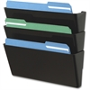 "Deflect-o Letter-Size Stackable Wall DocuPocket - 3 Pocket(s) - 7"" Height x 13"" Width x 4"" Depth - Wall Mountable - Black - 1Each"