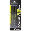 Pilot Varsity Disposable Fountain Pen - Medium Point Type - Black, Blue, Purple - Black Barrel - 3 / Pack