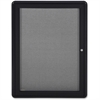 "Ghent 1-Door Ovation Enclosed Fabric Bulletin Board - 34"" Height x 24"" Width - Gray Fabric Surface - Black Aluminum Frame - 1 Each"