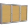 "Ghent 3-Door Indoor Enclosed Bulletin Board - 48"" Height x 72"" Width - Natural Cork Surface - Satin Aluminum Frame - 1 Each"