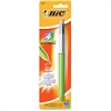 BIC 4-Colors-in-One Multifunction Ball Pen - Medium Point Type - 1 mm Point Size - Refillable - Assorted, Black, Red, Green - Light Green Barrel - 1 / Each