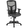 "Lorell Executive High-Back Mesh Chair - Leather Black Seat - Steel Frame - Black - Leather, Plastic - 20.08"" Seat Width x 18.70"" Seat Depth - 26"" Width x 24"" Depth x 43.7"" Height"