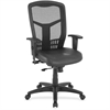 "Lorell Executive High-Back Swivel Chair - Leather Black Seat - Steel Frame - Black - 28.5"" Width x 28.5"" Depth x 45"" Height"