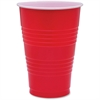 Genuine Joe Plastic Party Cup - 16 fl oz - 50 / Pack - Red - Plastic - Party, Cold Drink