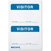 "Baumgartens Self-adhesive Visitor Badge - Removable Adhesive - 3.50"" Width x 2.25"" Length - Rectangle - White, Blue - 100 / Box"
