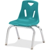 "Jonti-Craft Berries Plastic Chairs w/Chrome-Plated Legs - Polypropylene Teal Seat - Steel Frame - Four-legged Base - Teal - 16.5"" Width x 14"" Depth x 21.5"" Height"