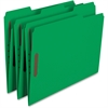 "Smead 100% Recycled Colored Fastener Folders - Letter - 8 1/2"" x 11"" Sheet Size - 2 Fastener(s) - 1/3 Tab Cut - Assorted Position Tab Location - 11 pt. Folder Thickness - Green - Recycled - 50 / Box"