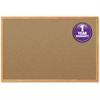 "Mead Cork Surface Bulletin Board - 24"" Height x 18"" Width - Natural Cork Surface - Oak Aluminum Frame - 1 Each"