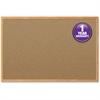 "Mead Cork Surface Bulletin Board - 48"" Height x 36"" Width - Natural Cork Surface - Oak Aluminum Frame - 1 Each"