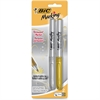 BIC Mark-it Fine Point Permanent Metallic Markers - Fine Point Type - Metallic Gold, Metallic Silver - 2 / Pack