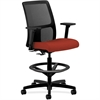 "HON Ignition Series Mesh Back Task Stool - Fabric Cranberry Seat - Mesh Black Back - 5-star Base - Black, Cranberry - 19"" Seat Width x 17"" Seat Depth - 27.5"" Width x 27.5"" Depth x 53"" Height"