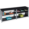 "Safco Scoot Credenza Contemp Design Bookcase - 72"" x 15.5"" x 25"" - 4 Shelve(s) - Material: Steel, Particleboard - Finish: Black, Laminate, Powder Coated"