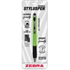 Zebra Pen StylusPen Ballpoint Retractable Pen - Copper, Rubber - Green - Smartphone, Tablet Device Supported - Capacitive Touchscreen Type Supported
