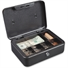 "6 Compartment Locking Cash Box - Key Lock - for Money, Coin - Overall Size 4"" x 10"" x 7.5"" - Silver, Black - Plastic, Steel, Plastic"