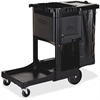 "Rubbermaid Executive Janitor Cleaning Cart - 3 Shelf - 8"", 4"" Caster Size - 21.8"" Width x 46"" Depth x 38"" Height - Black"