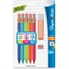 Paper Mate Triangular No.2 Mechanical Pencils Kit - #2 Lead Degree (Hardness) - 1.3 mm Lead Diameter - Black Lead - Assorted Barrel - 5 / Pack