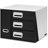 "Premier 3-Drawer Bin Organizer - 3 Drawer(s) - 12.5"" Height x 12.5"" Width x 15.3"" Depth - Desktop - Recycled - Black, White - 1Each"