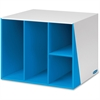"Premier 4 Compartment Organizer - 4 Compartment(s) - 12.4"" Height x 12.4"" Width x 12.4"" Depth - Desktop - Recycled - Blue, White - 1Each"