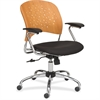 "Safco Reve Task Chair Round Plastic Wood Back - Fabric Black Seat - Wood-plastic Composite Natural Back - Chrome Frame - 5-star Base - 18.50"" Seat Width x 17"" Seat Depth - 24"" Width x 24"" Depth x 39"""