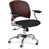 "Safco Reve Task Chair Round Plastic Wood Back - Fabric Black Seat - Wood-plastic Composite Mahogany Back - Chrome Frame - 5-star Base - 18.50"" Seat Width x 17"" Seat Depth - 24"" Width x 24"" Depth x 39"""