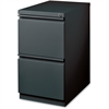 "Lorell 20"" FF Mobile Pedestal File - 15"" x 19.9"" x 27.8"" - 2 x Drawer(s) for File - Letter - Recessed Drawer, Security Lock, Ball-bearing Suspension, Casters - Charcoal - Steel - Recycled"
