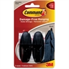 Command Medium Designer Adhesive Hooks - 2 Medium Hook - 3 lb (1.36 kg) Capacity - for Paint, Wood, Tile - Plastic - Black - 2 / Pack