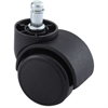 "Lorell Soft Wheel B Stem Oversized Safety Casters - 1.97"" Diameter - Nylon, Metal - Black"