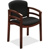 "HON 2112 Double Rail Mahogany Wood Guest Chair - Black Seat - Black Back - Hardwood Frame - Four-legged Base - 20"" Seat Width x 17.50"" Seat Depth - 23.5"" Width x 18.5"" Depth x 33.1"" Height"