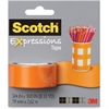 "Scotch Expressions Magic Tape - 0.75"" Width x 25 ft Length - 1"" Core - Removable, Repositionable, Writable Surface - Dispenser Included - Handheld Dispenser - 1 / Pack - Matte Orange"