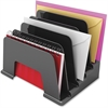 "Deflect-o Small Incline Sorter - 5 Compartment(s) - 6"" Height x 8"" Width x 5.5"" Depth - Desktop - Recycled - Black - Plastic - 1Each"