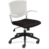 "Lorell Plastic Back Task Chair - Fabric White Seat - Plastic White Back - 5-star Base - 17.30"" Seat Width x 18.10"" Seat Depth - 24"" Width x 24"" Depth x 35.3"" Height"