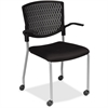 "Lorell Plastic Back Guest Chair - Fabric Black Seat - Plastic Black Back - Four-legged Base - 17.30"" Seat Width x 10.10"" Seat Depth - 22"" Width x 20.5"" Depth x 34.3"" Height"
