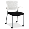 "Lorell Plastic Back Guest Chair - Fabric Black Seat - Plastic White Back - Four-legged Base - 17.30"" Seat Width x 10.10"" Seat Depth - 20.5"" Width x 22"" Depth x 34.5"" Height"