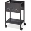 "Lorell 18"" File Cart - 1 Shelf - 4 Casters - 1.88"" Caster Size - Steel - 13.3"" Width x 18"" Depth x 27"" Height - Black"