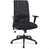 Lorell Synchro-tilt Mesh Back Suspension Chair - Fabric Black Seat - Black Back - 5-star Base - Black