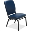 "Lorell Vinyl Back/Seat Oversized Stack Chairs - Vinyl Navy Seat - Vinyl Navy Back - Steel Frame - Four-legged Base - 21"" Seat Width x 15"" Seat Depth - 21"" Width x 25"" Depth x 35.5"" Height"