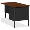 """Lorell Fortress Series Right-Pedestal Return - Rectangle Top - 1 Pedestals - 42"""" Table Top Width x 24"""" Table Top Depth x 1.12"""" Table Top Thickness - 29.50"""" Height - Black Walnut, Oak Laminate - Steel"""