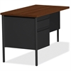 "Lorell Fortress Series Left-Pedestal Return - Rectangle Top - 1 Pedestals - 42"" Table Top Width x 24"" Table Top Depth x 1.12"" Table Top Thickness - 29.50"" Height - Assembly Required - Black Walnut, La"