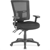 "Lorell Swivel Mid-Back Mesh Chair - Fabric Black Seat - Nylon Black Back - 5-star Base - Black - 20.90"" Seat Width x 21.30"" Seat Depth - 25.4"" Width x 25.4"" Depth x 40"" Height"