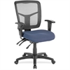 "Lorell Swivel Mid-Back Chair - Fabric Seat - Black Frame - 5-star Base - Black, Blue - 25.3"" Width x 23.5"" Depth x 40.5"" Height"