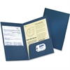 "Two Pocket Folders - Letter - 8 1/2"" x 11"" Sheet Size - 200 Sheet Capacity - 2 Internal Pocket(s) - Fiber - Dark Blue - 4 / Pack"