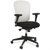 "Safco Adjustable Arms Black Fabric Task Chair - Fabric Black Seat - Poly Back - Black Frame - 5-star Base - White - 24.8"" Width x 26"" Depth x 39"" Height"