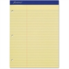 "Ampad Perforated 3HP Ruled Double Sheet Pads - 100 Sheets - Printed - 15 lb Basis Weight - Letter 8.50"" x 11"" - Canary Yellow Paper - 100 / Pad"