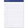 "Ampad Perforated 3HP Ruled Double Sheet Pads - 100 Sheets - Printed - Stapled - Both Side Ruling Surface - 15 lb Basis Weight - Letter 8.50"" x 11"" - White Paper - White Cover - 100 / Pad"