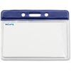 "Baumgartens Horizontal Badge Holders - Horizontal - 4.1"" x 4.6"" x 0.1"" - Vinyl - 50 / Box - Blue"