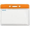 "Baumgartens Horizontal Badge Holders - Horizontal - 4.1"" x 4.6"" x 0.1"" - Vinyl - 50 / Box - Orange"