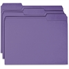Business Source Colored File Folder - 1/3 Tab Cut - 11 pt. Folder Thickness - Purple - Recycled - 100 / Box
